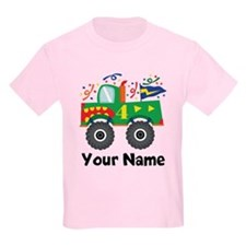 Personalized 4th Birthday Monster Truck T-Shirt
