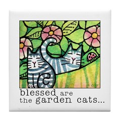 GARDEN CATS...Ceramic Art Tile Coaster