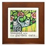 GARDEN CATS... Framed Ceramic Art Tile