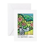 GARDEN CATS... Blank Greeting Card
