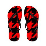 Red and Black Houndstooth Flip Flops