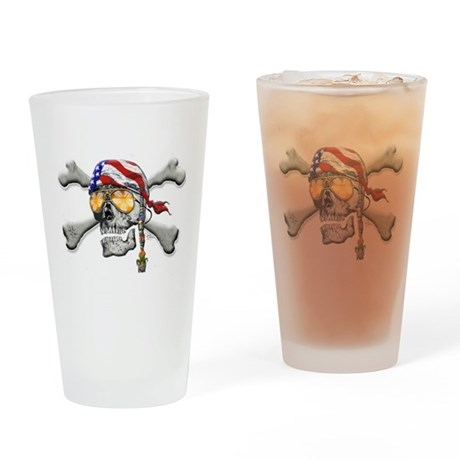 American Pirate Scull and Cross Bones Drinking Gla