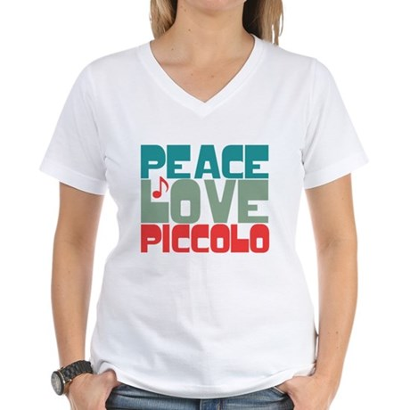 Peace Love Piccolo Women's V-Neck T-Shirt
