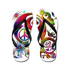 Lucky Peace Sign Collage Flip Flops