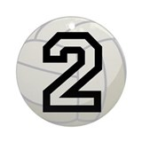 Volleyball Player Number 2 Ornament (Round)