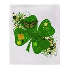 Fancy Irish 4 leaf Clover Throw Blanket