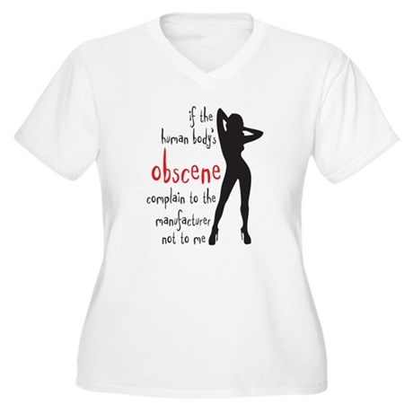 human body's obscene Women's Plus Size V-Neck T-Sh
