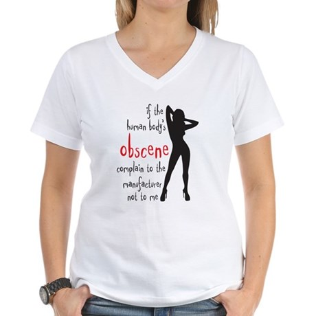 human body's obscene Women's V-Neck T-Shirt