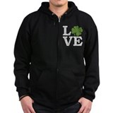 LOVE with a shamrock Zip Hoodie