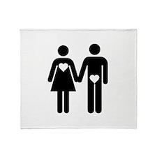 Man Woman Heart Throw Blanket