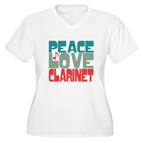 Peace Love Clarinet Women's Plus Size V-Neck T-Shi