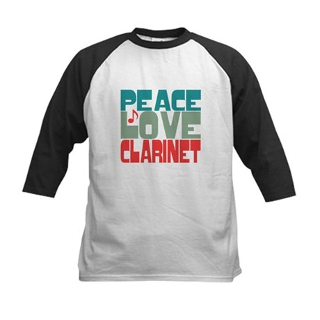 Peace Love Clarinet Kids Baseball Jersey
