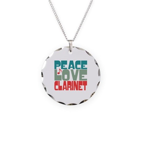 Peace Love Clarinet Necklace Circle Charm