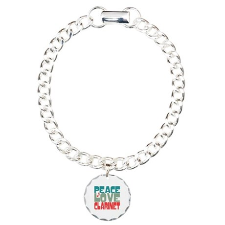 Peace Love Clarinet Charm Bracelet, One Charm