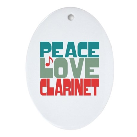 Peace Love Clarinet Ornament (Oval)