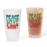 Peace Love Clarinet Drinking Glass