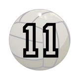 Volleyball Player Number 11 Ornament (Round)