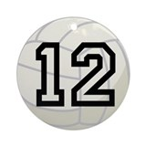 Volleyball Player Number 12 Ornament (Round)