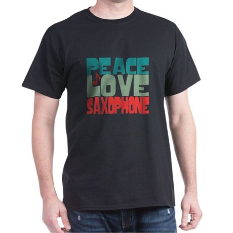 Peace Love Saxophone Dark T-Shirt