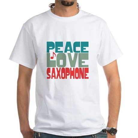 Peace Love Saxophone White T-Shirt