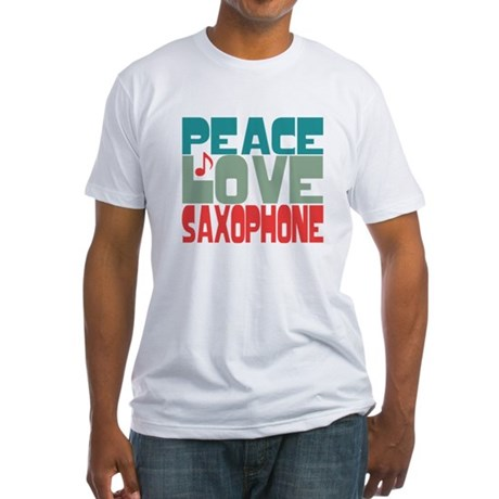 Peace Love Saxophone Fitted T-Shirt