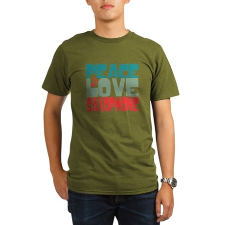 Peace Love Saxophone Organic Men's T-Shirt (dark)
