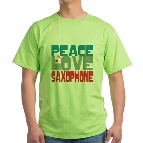 Peace Love Saxophone Green T-Shirt