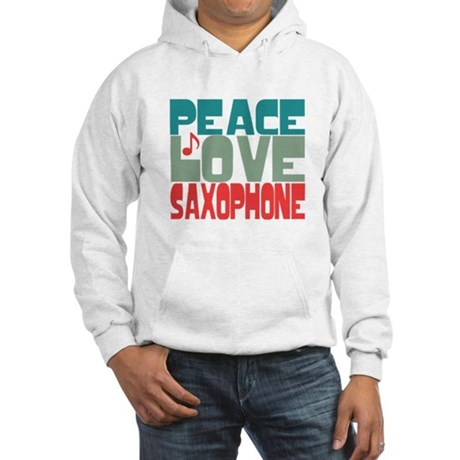 Peace Love Saxophone Hooded Sweatshirt