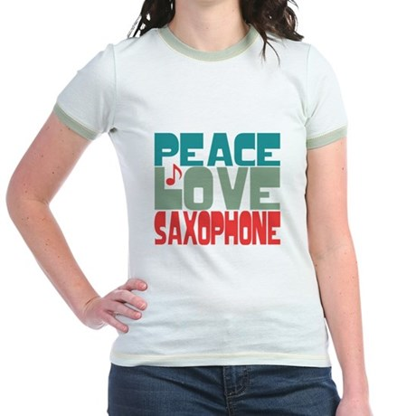 Peace Love Saxophone Jr. Ringer T-Shirt