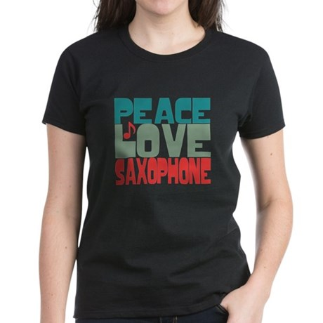Peace Love Saxophone Women's Dark T-Shirt