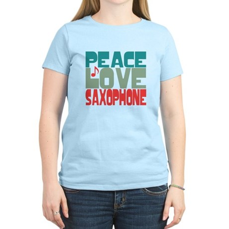 Peace Love Saxophone Women's Light T-Shirt