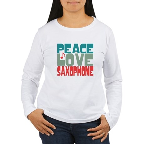 Peace Love Saxophone Women's Long Sleeve T-Shirt