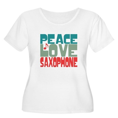 Peace Love Saxophone Women's Plus Size Scoop Neck