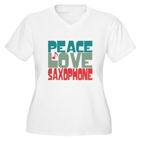 Peace Love Saxophone Women's Plus Size V-Neck T-Sh