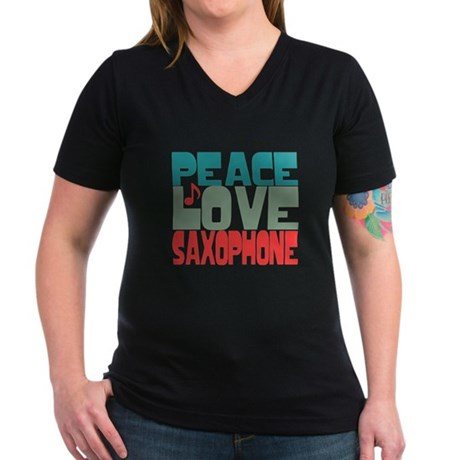 Peace Love Saxophone Women's V-Neck Dark T-Shirt
