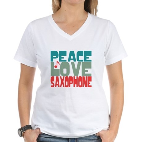 Peace Love Saxophone Women's V-Neck T-Shirt