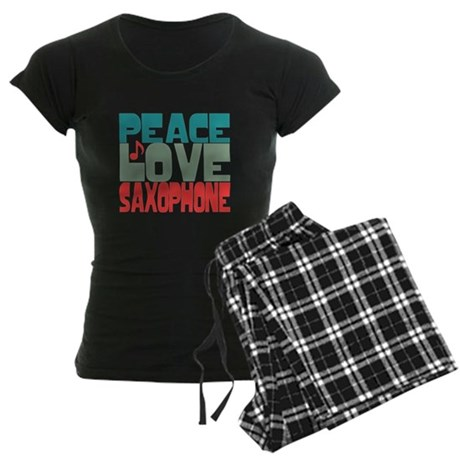 Peace Love Saxophone Women's Dark Pajamas