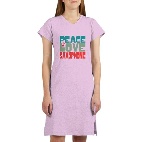 Peace Love Saxophone Women's Nightshirt