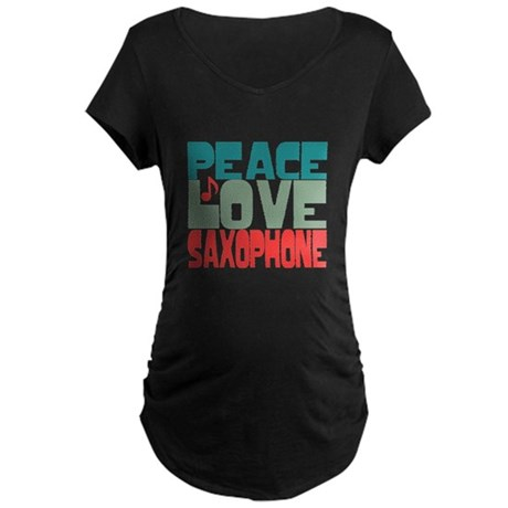 Peace Love Saxophone Maternity Dark T-Shirt