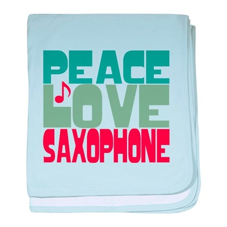 Peace Love Saxophone baby blanket