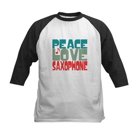 Peace Love Saxophone Kids Baseball Jersey