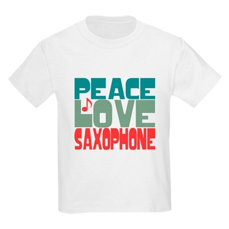 Peace Love Saxophone Kids Light T-Shirt