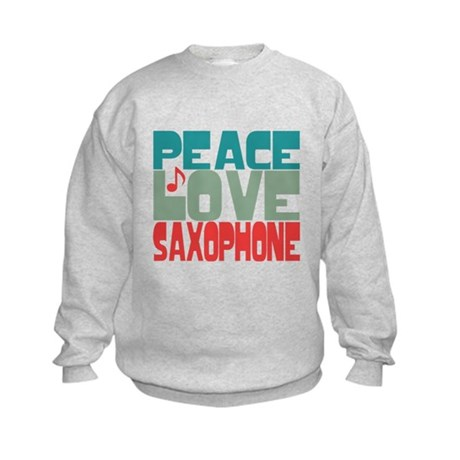 Peace Love Saxophone Kids Sweatshirt