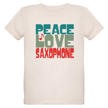 Peace Love Saxophone Organic Kids T-Shirt