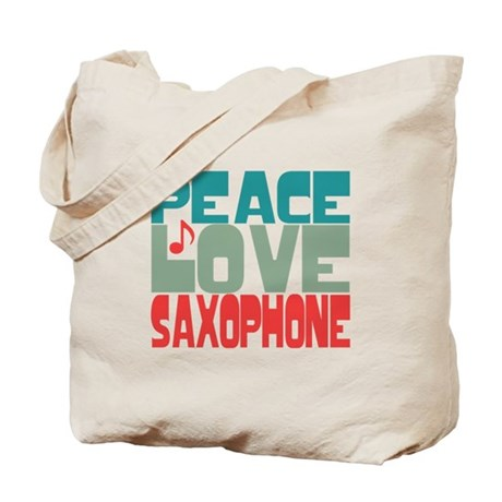 Peace Love Saxophone Tote Bag