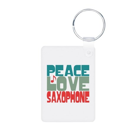 Peace Love Saxophone Aluminum Photo Keychain