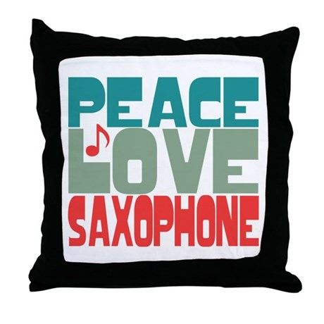 Peace Love Saxophone Throw Pillow