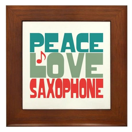 Peace Love Saxophone Framed Tile