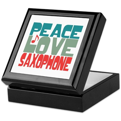 Peace Love Saxophone Keepsake Box