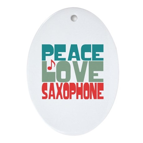 Peace Love Saxophone Ornament (Oval)